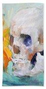 Skull And Sunflower Beach Towel