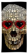 Skull Art - Day Of The Dead 3 Stone Rock'd Beach Towel