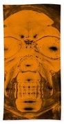 Skull In Negative Orange Beach Towel