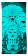 Skull In Negative Turquois Beach Towel
