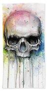 Skull Watercolor Painting Beach Sheet