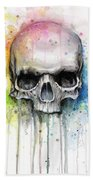 Skull Watercolor Painting Beach Towel