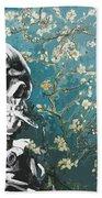 Skull With Burning Cigarette On Cherry Blossom Beach Sheet