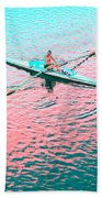 Skulling Boat At Sunset Beach Towel