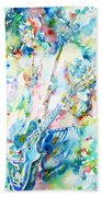 Slash Playing Live - Watercolor Portrait Beach Towel