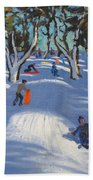 Sledging At Ladmanlow Beach Towel by Andrew Macara