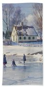 Sledging On A Frozen Pond Beach Towel