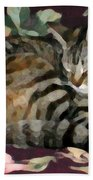 Sleeping Tabby Beach Towel