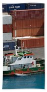 Small Boat With Cargo Containers Beach Towel