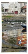 Small Boats And Seagulls In Galicia Beach Towel