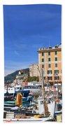 small harbor in Camogli. Italy Beach Towel