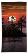Small Island At Sunset Beach Towel