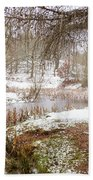 Small Lake In The Snow Beach Towel