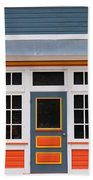 Small Store Front Entrance Colorful Wooden House Beach Towel
