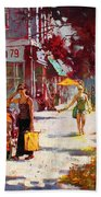 Small Talk In Elmwood Ave Beach Towel by Ylli Haruni