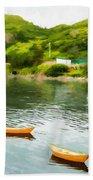 Small Yellow Boats Beach Sheet
