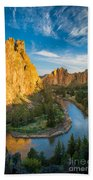 Smith Rock River Bend Beach Towel by Inge Johnsson
