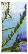 Snail On Flowers Beach Towel
