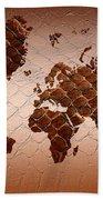 Snake Skin World Map Beach Towel