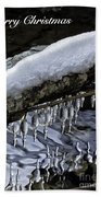 Snow And Icicles Merry Christmas Card Beach Towel