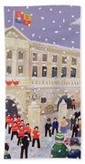 Snow At Buckingham Palace Beach Towel by William Cooper