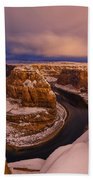 Snow At Horseshoe Bend Beach Towel by Dustin  LeFevre