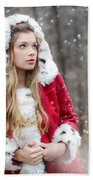 Snow Beauty In Red Beach Towel