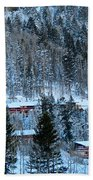 Snow Cabins Beach Towel