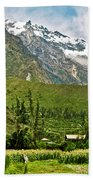 Snow-capped Andes Mountains With Snowline Above 17000 Feet-peru Beach Towel