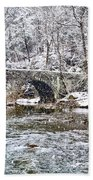 Snow Coming Down On The Wissahickon Creek Beach Towel