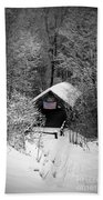 Snow Covered Covered Bridge  Beach Towel