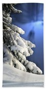 Snow Covered Tree Branches Beach Towel
