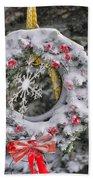 Snow Covered Wreath Beach Towel