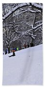 Snow Day In The Park Beach Towel
