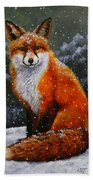 Snow Fox Beach Towel
