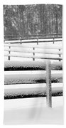 Snow In The Pasture Beach Towel