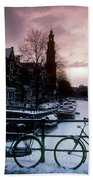 Snow On Canals. Amsterdam, Holland Beach Towel