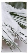 Snow On Pine Needles Beach Towel