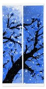 Snow On The Blue Cherry Blossom Tree Beach Towel