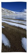 Snow Patterns Near Blue Lake Mt Beach Towel
