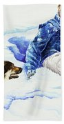 Snow Play Sadie And Andrew Beach Towel by Carolyn Coffey Wallace