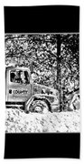 Snow Plow In Black And White Beach Towel