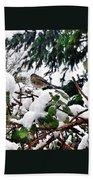 Snow Scene Of Little Bird Perched Beach Towel
