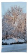 Snow Trees Sunrise 2-2-15 Beach Towel