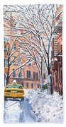 Snow West Village New York City Beach Towel by Anthony Butera