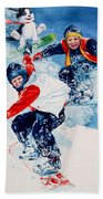 Snowboard Super Heroes Beach Towel
