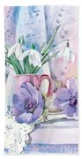 Snowdrops And Anemones Beach Towel