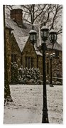 Snowing At Stokesay Castle Beach Towel