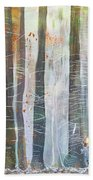 Snowing In The Ice Forest Beach Towel