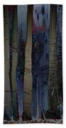 Snowing In The Ice Forest At Night Beach Towel